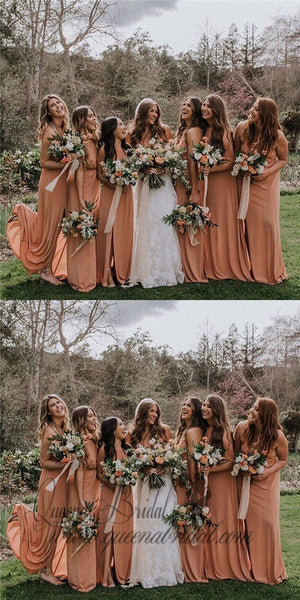 2019 Crew Long Dusty Orange Chiffon Bridesmaid Dresses with Split, QB0483
