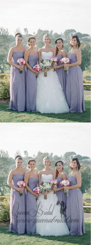 Simple Strapless Cheap Sweetheart Chiffon Custom Long Bridesmaid Dresses, WG237