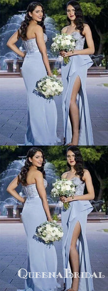Sheath Strapless Blue Satin Bridesmaid Dresses with Lace Ruffles Split, QB0842