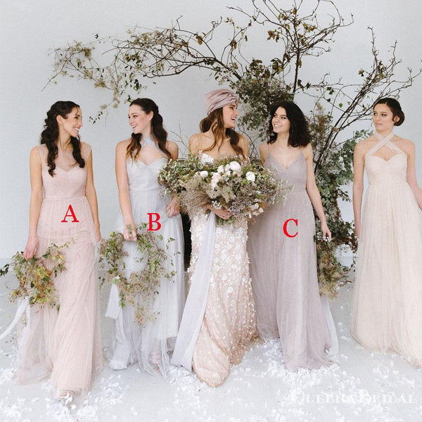 Newest Charming Elegant Mismatched Tulle Long Cheap Wedding Party Bridesmaid Dresses, QB0913