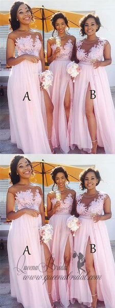 Sexy Side Slit Cap Sleeve Pink Custom Long Bridesmaid Dresses, WG233