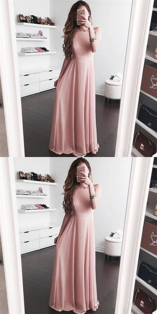 Pretty Bateau Sleeveless Long Cheap Pink Chiffon Bridesmaid Dresses Online, QB0142