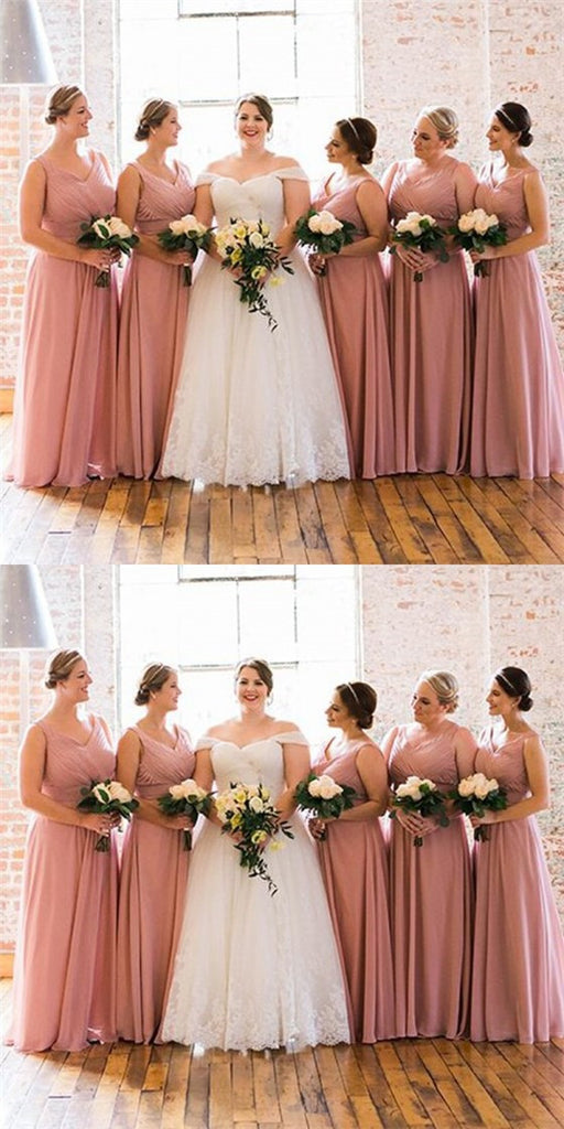Sexy V-Neck Long Cheap Blush Pink Chiffon Bridesmaid Dresses Online, QB0121