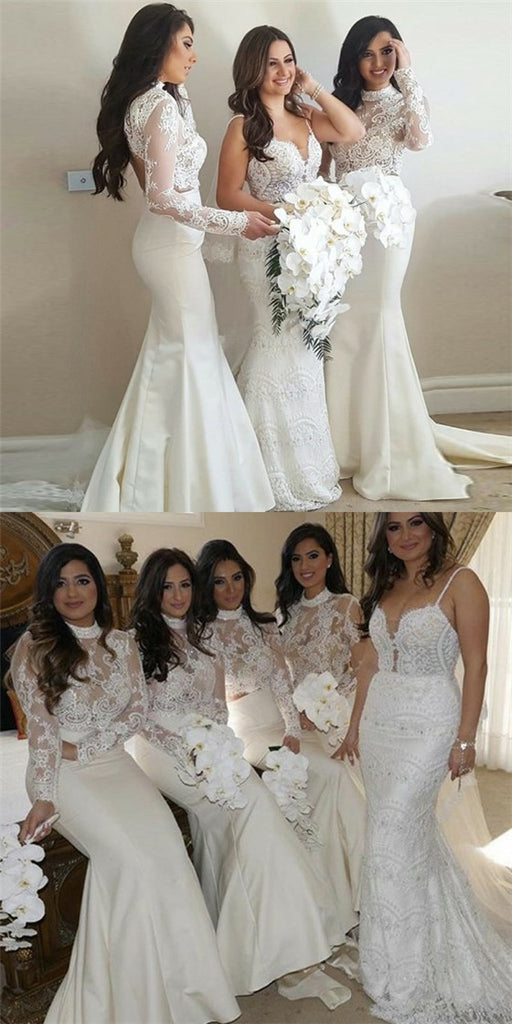 Mermaid High Neck Long Sleeves Long Cheap Ivory Bridesmaid Dresses With Lace Qb0155