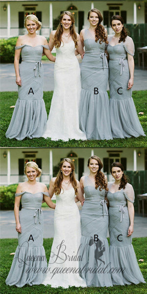 Mismatched Mermaid Off Shoulder Long Sage Bridesmaid Dresses with Sash, TYP0486