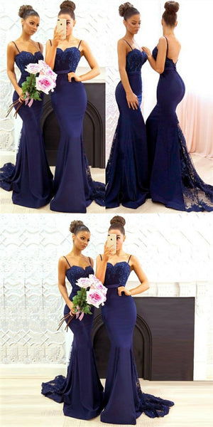 Mermaid Spaghetti Straps Lace&Satin Navy Blue Long Cheap Bridesmaid Dresses Online, QB0012