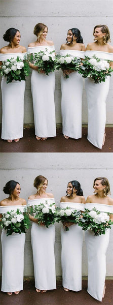Tight Off-Shoulder Asymmetrical White Satin Bridesmaid Dresses Online, QB0210