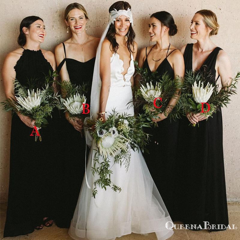 Newest Charming Mismatched Black Long Cheap Wedding Party Bridesmaid Dresses, QB0911