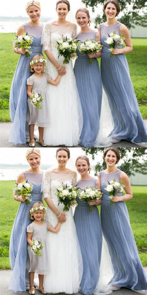 Light Blue Round Neck Chiffon Long Cheap Bridesmaid Dresses Online, QB0111