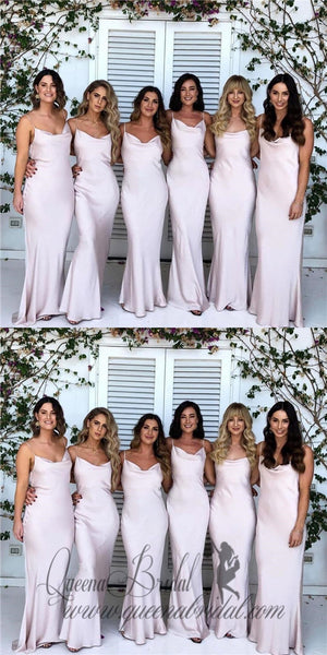 2019 Sheath Spaghetti Straps Long Cheap Soft Bridesmaid Dresses, QB0484