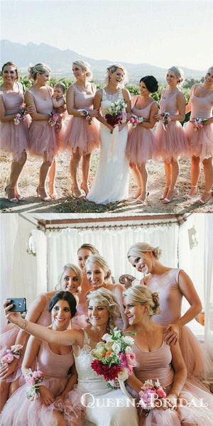 A-Line Scoop Short Blush Tulle Long Cheap Bridesmaid Dresses, QB0805