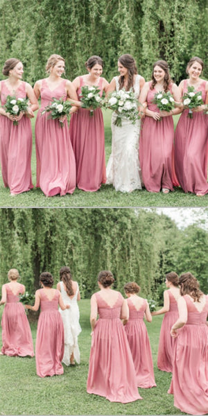 Pretty V-Neck Long Cheap Coral Chiffon Bridesmaid Dresses With Lace, QB0205