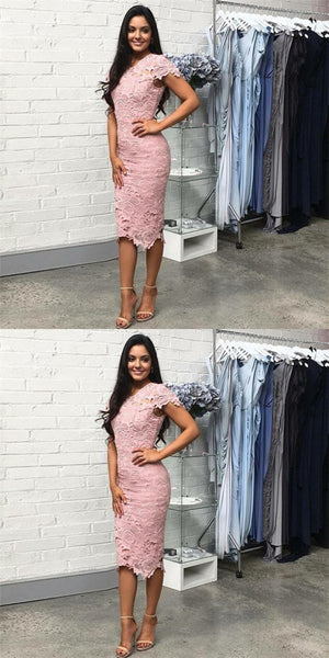 Tight Round Neck Cap Sleeves Pink Lace Short Cheap Bridesmaid Dresses Online, QB0112