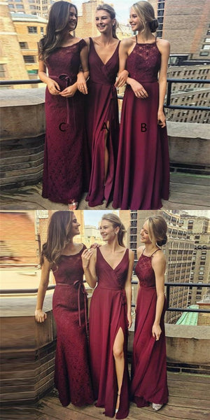 Popular V-Neck Long Cheap Burgundy Chiffon Bridesmaid Dresses Online, QB0154