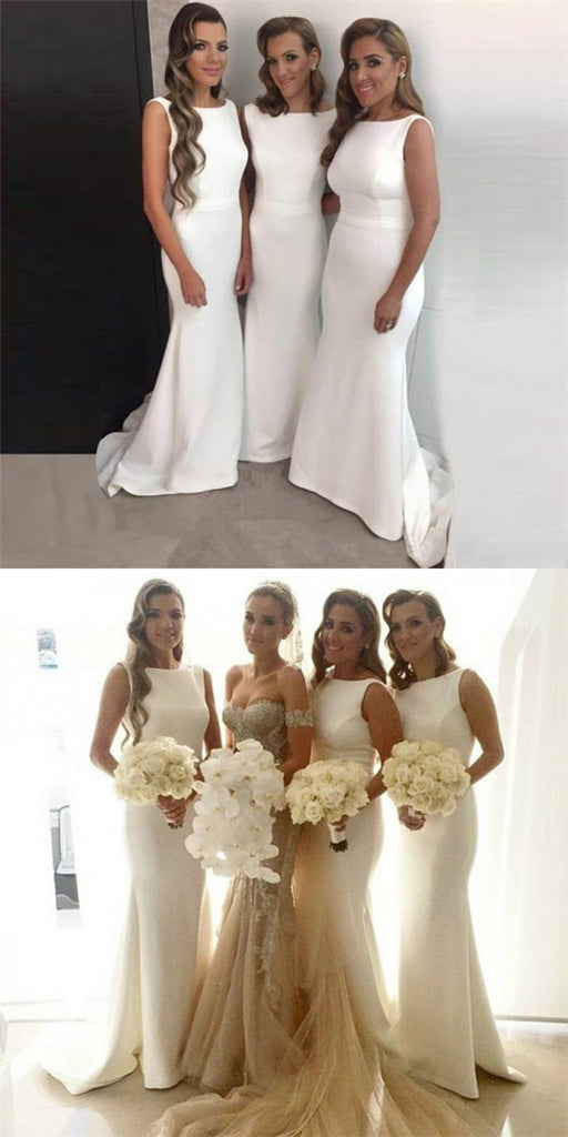 Mermaid Bateau Sleeveless Long Cheap White Satin Bridesmaid Dresses Online, QB0133