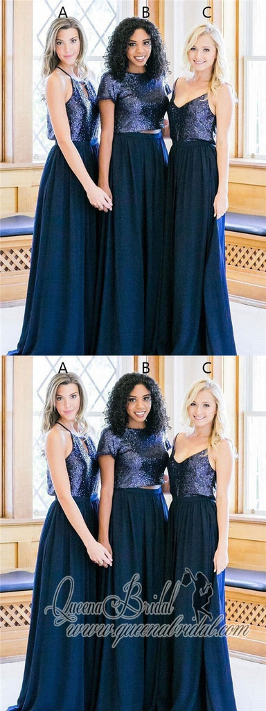 Cheap Mismatched Navy Sequin Custom Long Bridesmaid Dresses, WG232