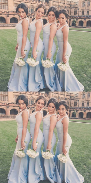 Sexy Deep V-Neck Mermaid Light Blue Satin Long Cheap Bridesmaid Dresses Online, QB0019