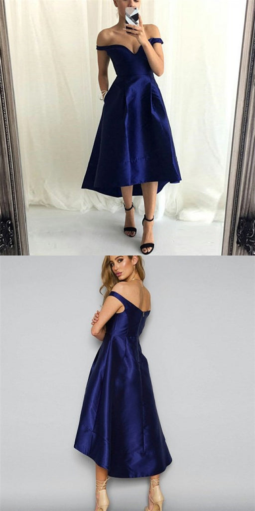 Off-Shoulder High Low Dark Blue Satin Cheap Bridesmaid Dresses with Pockets, QB0138