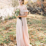 Simple Newest Charming Off-The-Shoulder Chiffon Long Cheap Bridesmaid Dresses With Ruffles, QB0915