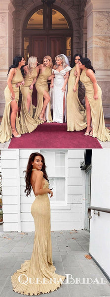 Sheath Halter Backless Long Gold Bridesmaid Dresses with Split, QB0708