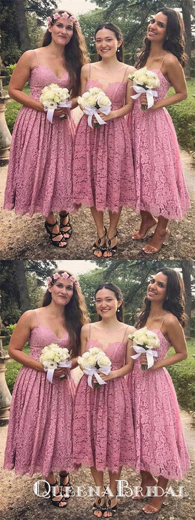 Dusty Rose Spaghetti Strap Sleeveless A Line Lace Bridesmaid Dresses, QB0675