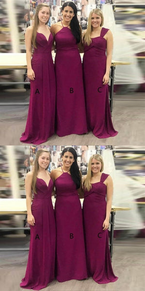 Mismatched Mermaid Long Cheap Grape Satin Bridesmaid Dresses Online, QB0204