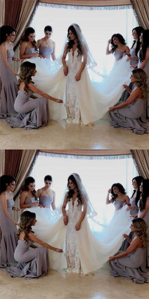 Mermaid Strapless Long Cheap  Grey Satin Bridesmaid Dresses Online, QB0203