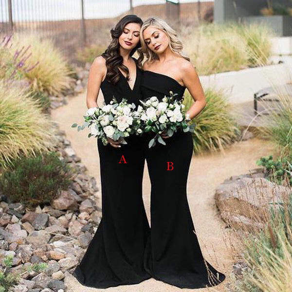 Mismatched Black Satin Memaid Long Cheap Wedding Party Bridesmaid Dresses, BDS0014