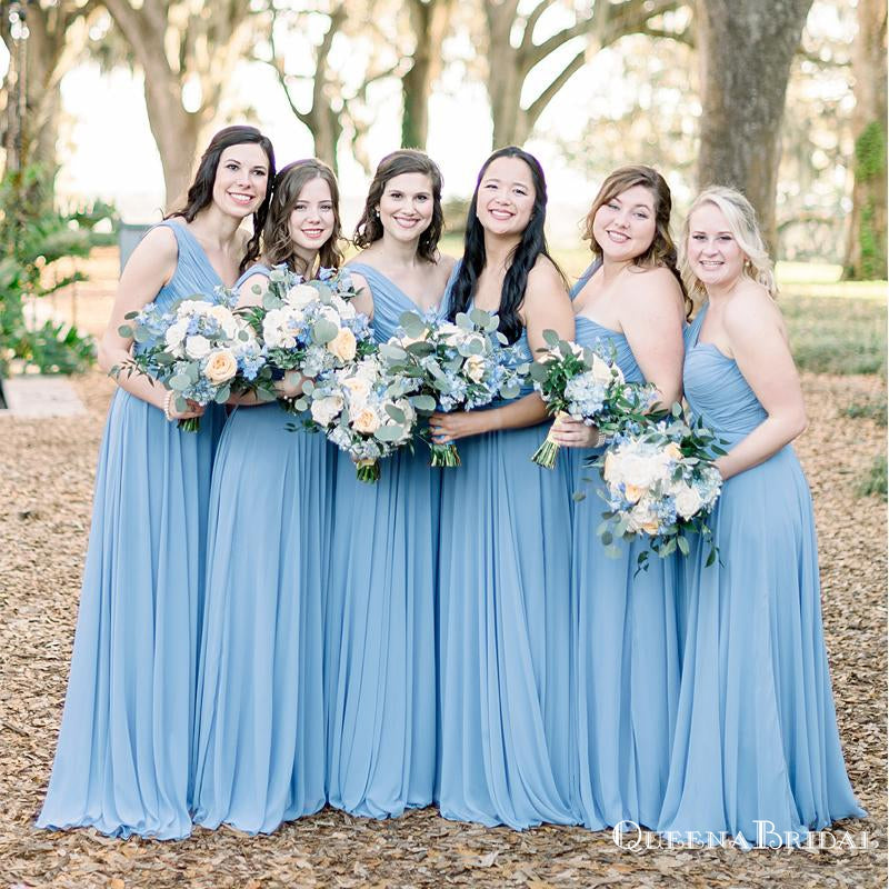 Simple Charming One Shoulder Blue Chiffon A-line Long Cheap Floor-Length Bridesmaid Dresses, BDS0034