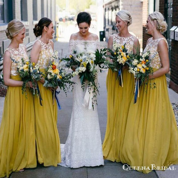 Charming Beteau Neckline Sleeveless Yellow Chiffon A-line Long Cheap Bridesmaid Dresses, BDS0023