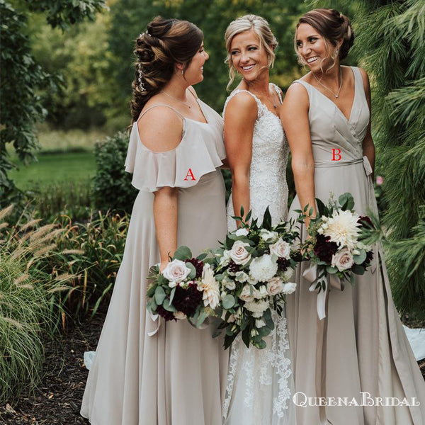 Mismatched Grey Chiffon A-line Long Cheap Bridesmaid Dresses Online, BDS0081