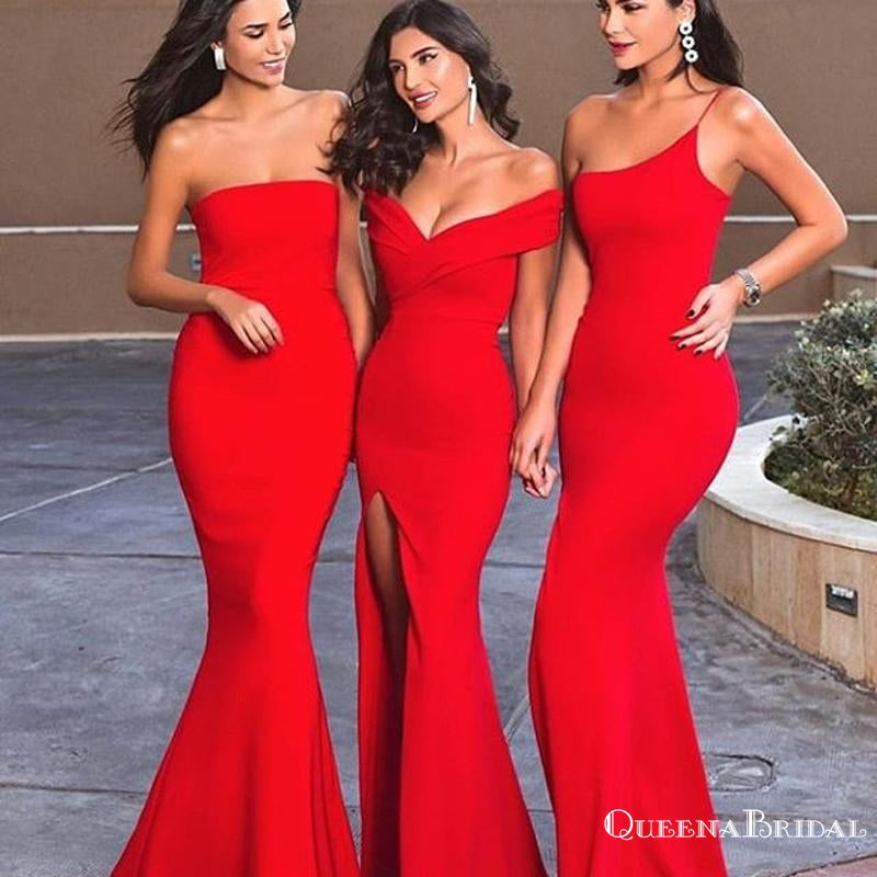 Charming Mismatched Red Satin Mermaid Long Cheap Bridesmaid Dresses, BDS0021