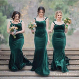 Charming Spaghetti Strap Green Velvet Mermaid Long Cheap Bridesmaid Dresses, BDS0047