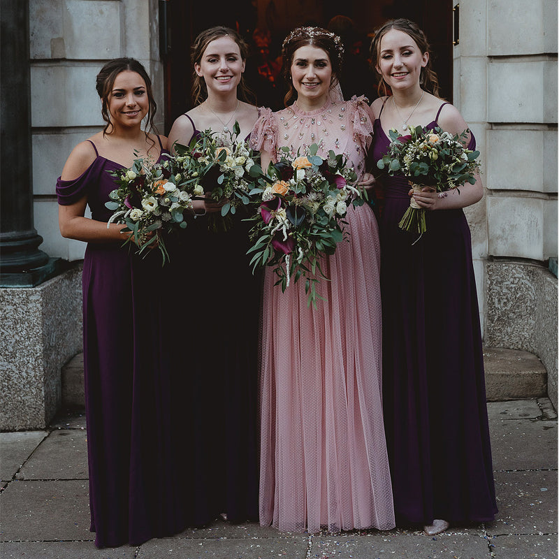 Newest Off-Shoulder Purple Chiffon A-line Long Cheap Bridesmaid Dresses, BDS0126