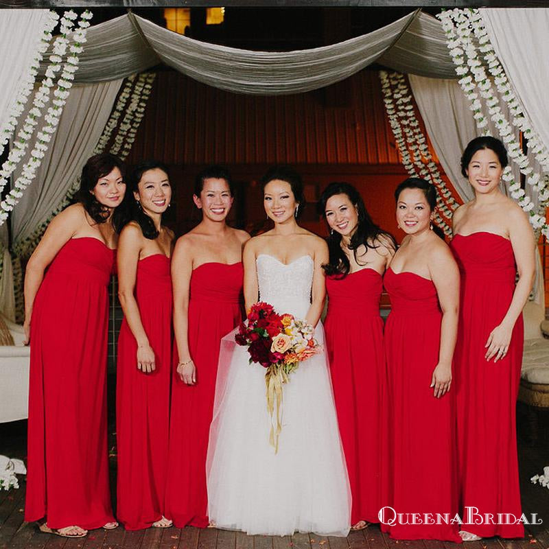 Sweetheart Charming Red Chiffon Side Slit A-line Long Cheap Bridesmaid Dresses, BDS0026