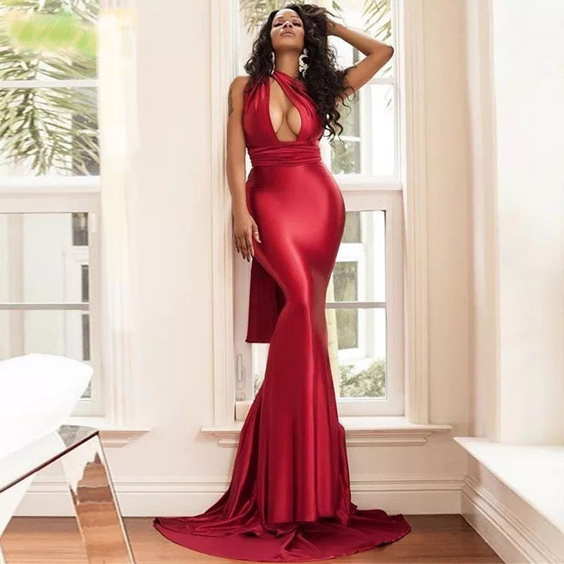 Sexy One Shoulder Red Satin Mermaid Long Cheap Bridesmaid Dresses, BDS0123