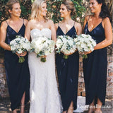Charming V-neck Navy Blue Long Cheap Charming Bridesmaid Dresses Online, BDS0070