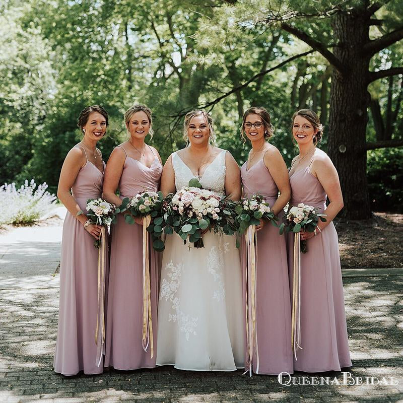 Simple Spaghetti Straps Dusty Pink Chiffon A-line Long Cheap Bridesmaid Dresses Online, BDS0078