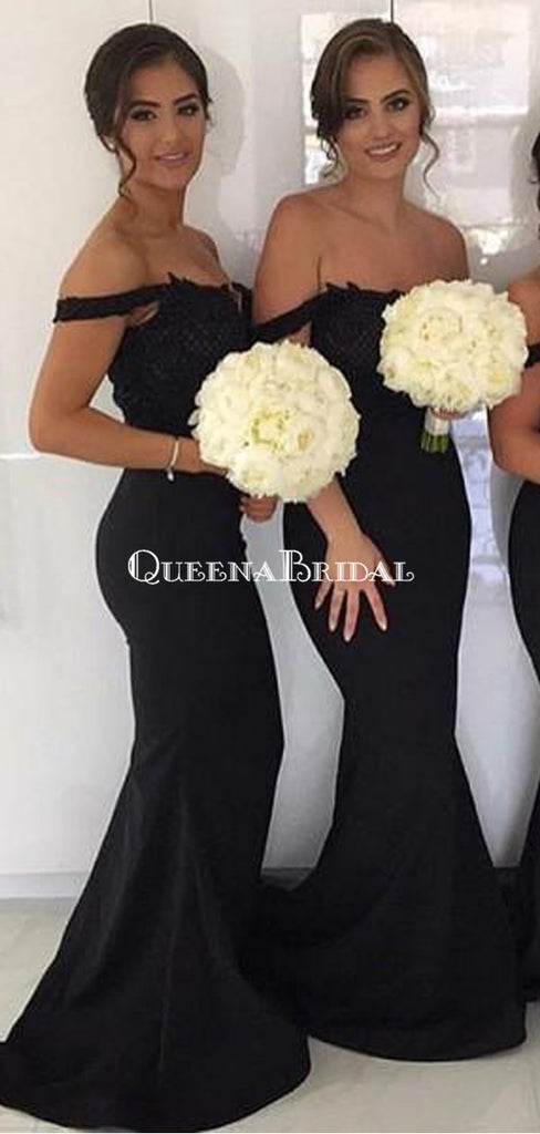 Sexy Mermaid Off-Shoulder Long Cheap Black Bridesmaid Dresses with Lace, QB0134