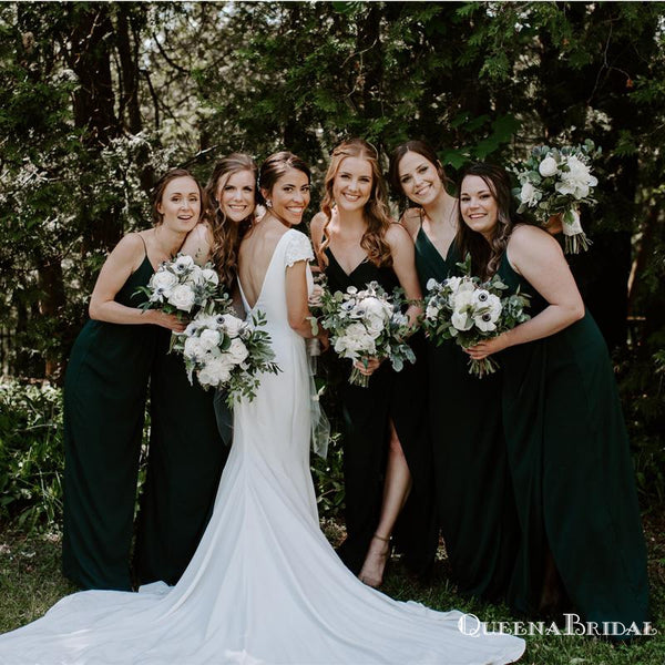 Simple V-neck Dark Green Long Cheap Charming Bridesmaid Dresses Online, BDS0064