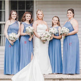 Charming Mismatched Blue Chiffon Top Lace Appliqued A-line Long Cheap Bridesmaid Dresses, BDS0050