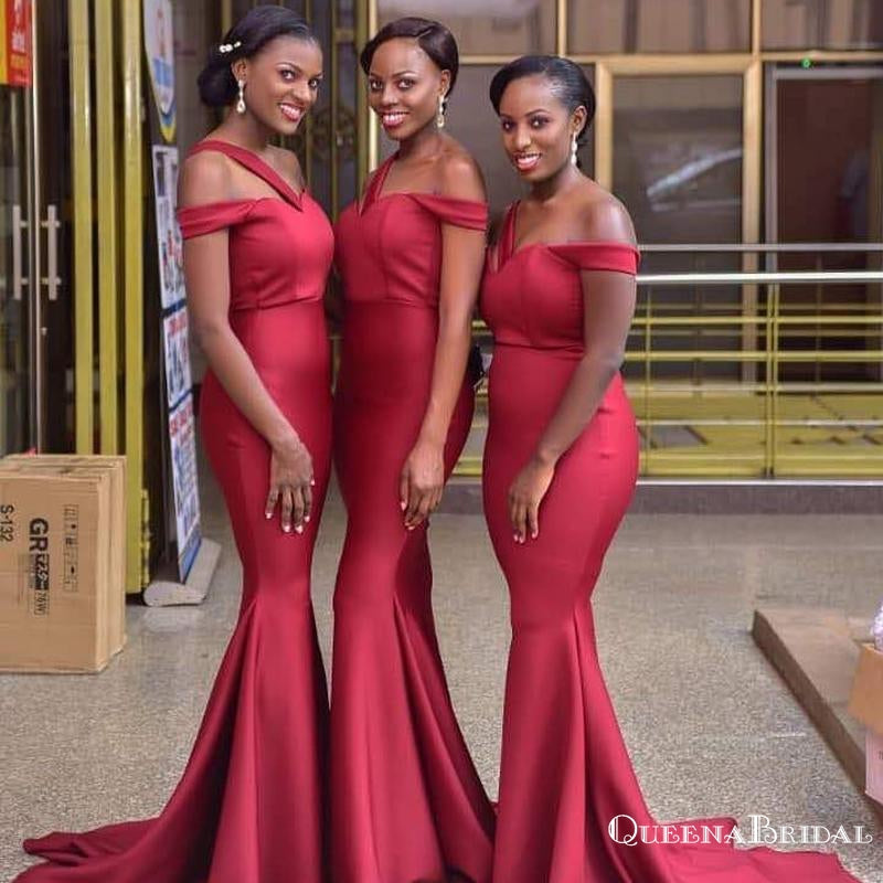 Off-The-Shoulder Red Mermaid Long Cheap Bridesmaid Dresses, BDS0095