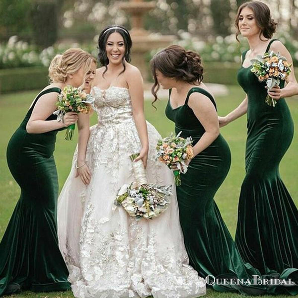 Elegant Spaghetti Strap Green Velvet Mermaid Long Cheap Bridesmaid Dresses, BDS0054