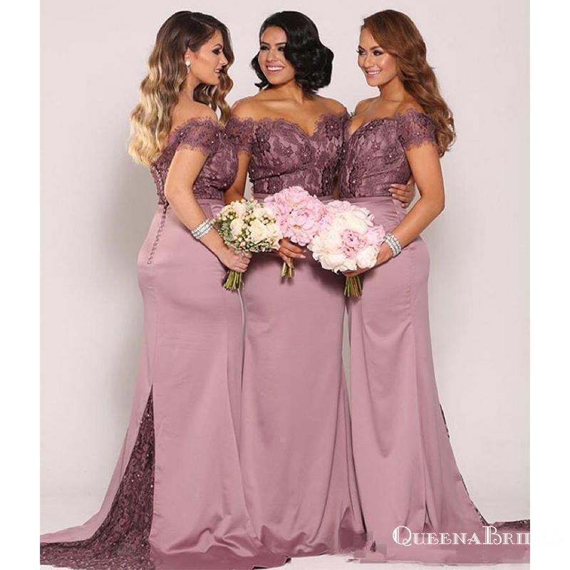 Off-The-Shoulder Elegant Mermaid Lace Long Cheap Charming Bridesmaid Dresses Online, BDS0074