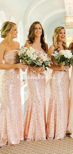 Rose Gold Sequin Mermaid Custom Long Bridesmaid Dresses, WG227