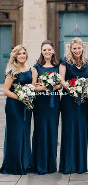 Mermaid Round Neck Long Cheap  Chiffon Teal Bridesmaid Dresses Online, QB0007