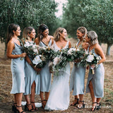 Simple Spaghetti Strap Light Blue Elastic Silk Cheap Charming Bridesmaid Dresses Online, BDS0071
