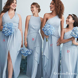 Mismatched Dusty Blue Chiffon A-line Long Cheap Charming Bridesmaid Dresses Online, BDS0062
