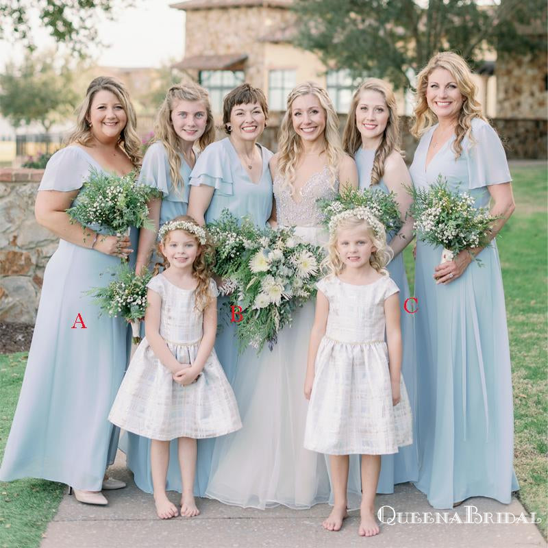 Mismatched Light Blue Chiffon A-line Long Cheap Floor-Length Bridesmaid Dresses, BDS0030