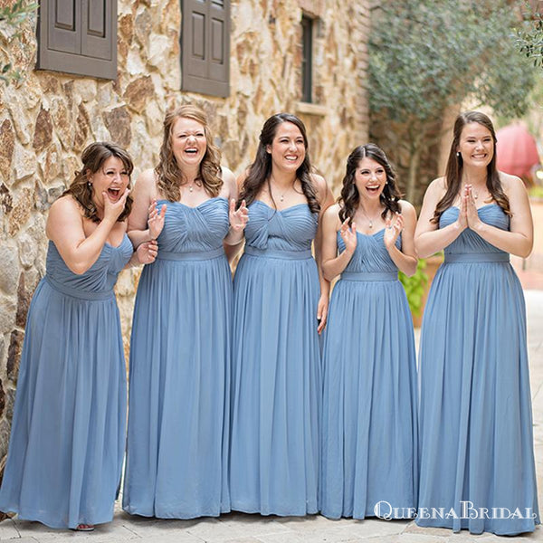 Sweetheart Simple Blue Chiffon A-line Long Floor-Length Cheap Bridesmaid Dresses, BDS0028